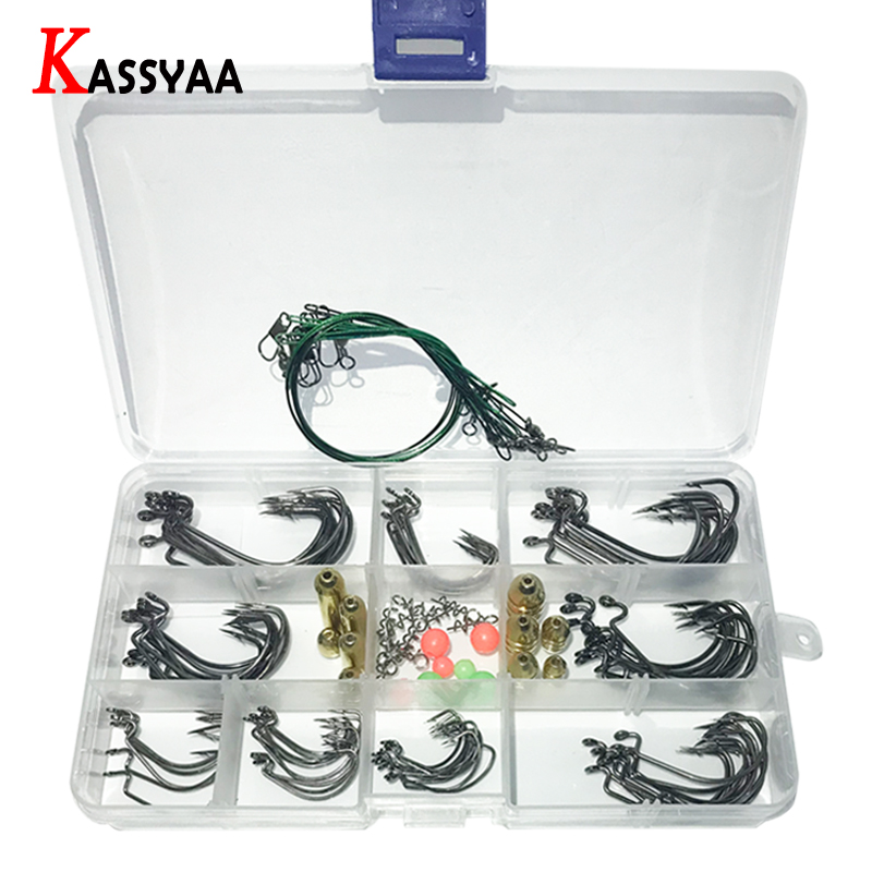 Crank Barbed Fishing Lure Hooks Kit with Box Texas Rig High Carbon Worm Lure Siliver Hook Set Fishing Beads Pin Red Black Hook-in Fishhooks from Sports & Entertainment