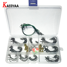цена на Crank Barbed Fishing Lure Hooks Kit with Box Texas Rig High Carbon Worm Lure Siliver Hook Set Fishing Beads Pin Red Black Hook