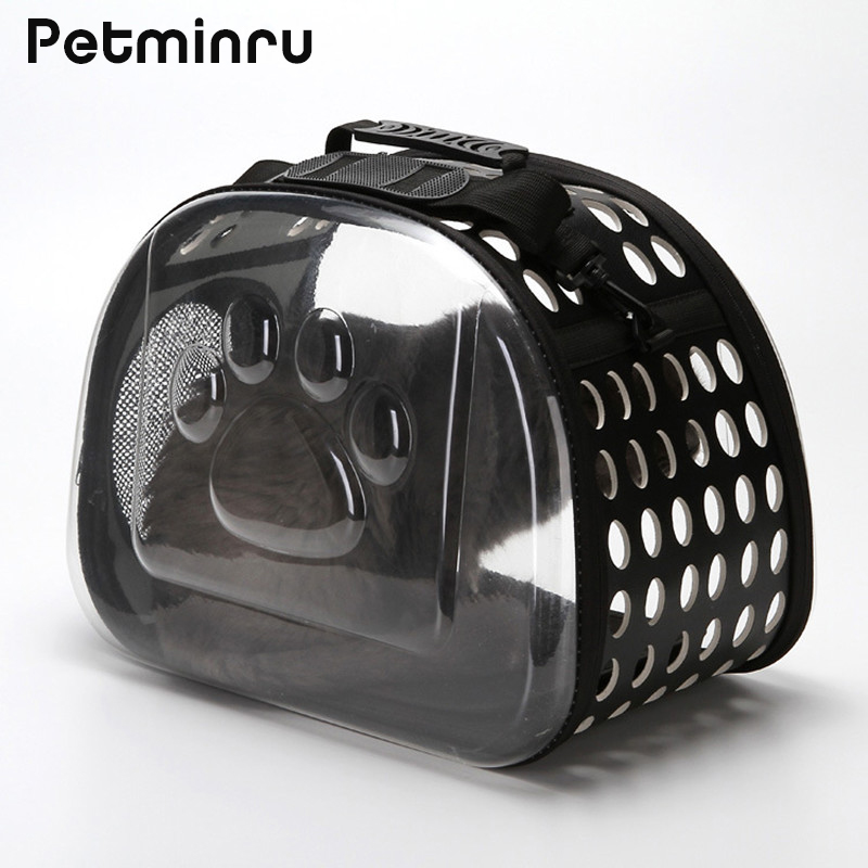 Petminru Transparent Cat Dog Carrier Bag Breathable Pet Travel Handbag Foldable Outdoor Shoulder Bags Puppy Travel Carrying Bags