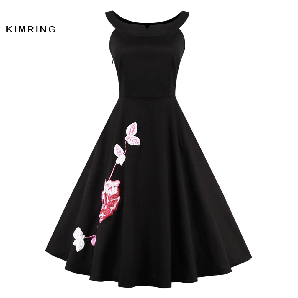 b94eb1d57e0 Kimring Summer Vintage Plus Size Dress Hepburn Style 1950s 60s Cocktails A  line Rockabilly Robe Retro Swing Dress for Women-in Dresses from Women s  Clothing ...