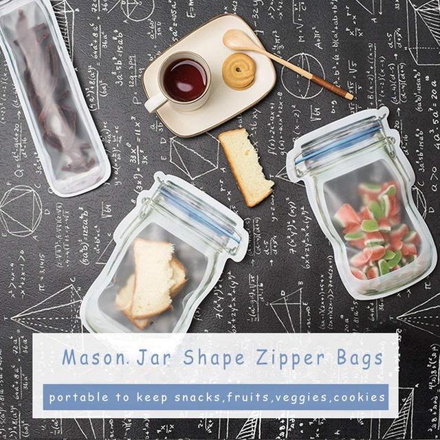 LMETJMA 12 Pieces Mason Jar Zipper Bags Reusable Snack Saver Bag Leakproof Food Sandwich Storage Bags for Travel Kids KC0216 4