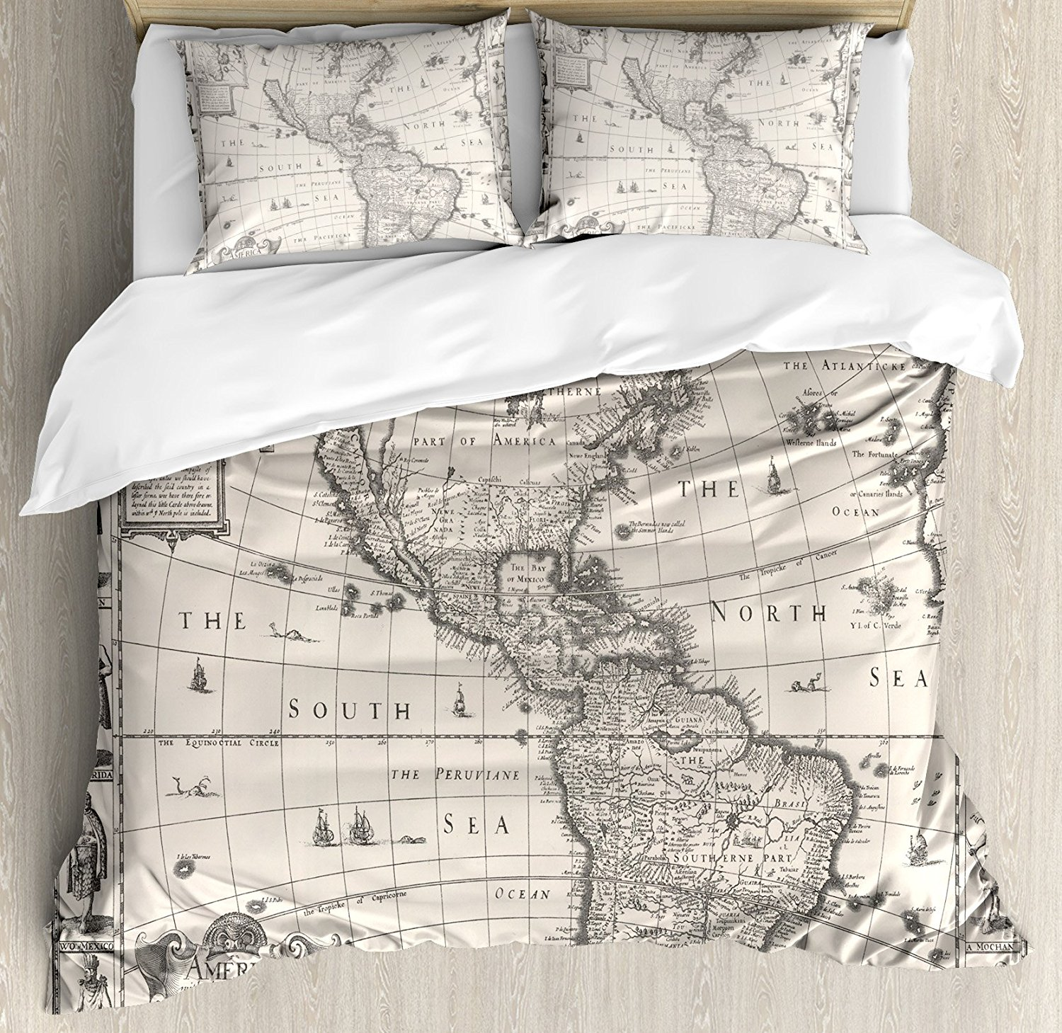 Decor Duvet Cover Set , Image of Antique Map America in 1600s World in Medieval Time Ancient Era, 4 Piece Bedding Set