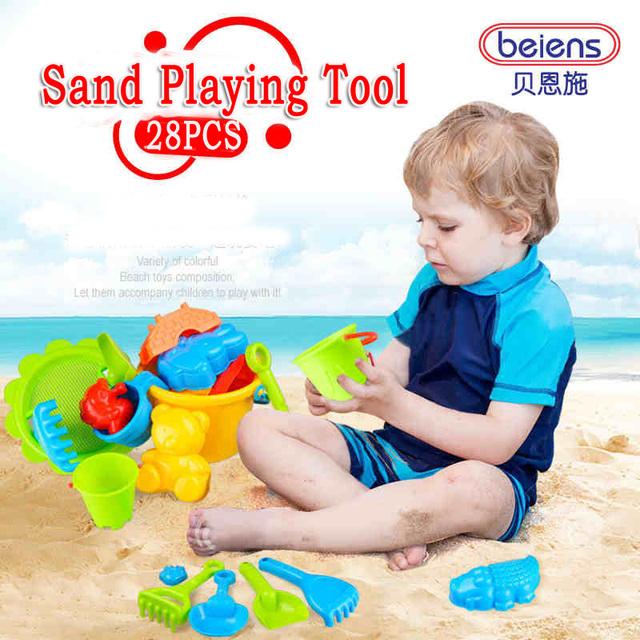 28 Unids/set Marca de Alta Calidad de Plástico PP Bebé Herramienta de Juego de Arena los niños Juguetes de Playa Juguetes De Baño para 3 + Niños Del Verano Juguetes Al Aire Libre regalos