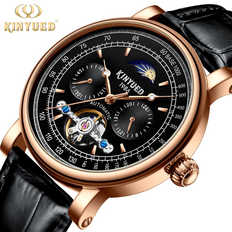 KINYUED Rose Golden Case Skeleton Watches Fashion Moon Phase Mens Automatic Watches Top Brand Luxury Black Genuine Leather BandKINYUED Rose Golden Case Skeleton Watches Fashion Moon Phase Mens Automatic Watches Top Brand Luxury Black Genuine Leather Band