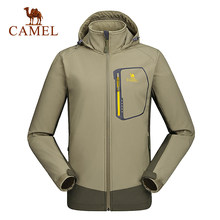 Camel Men's Outdoor Soft shell Jacket Windproof Waterproof Durable Camping Hiking Jacket A6W214118