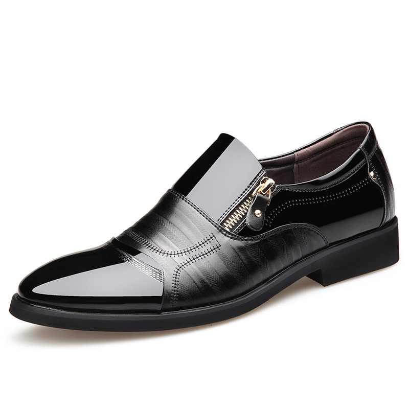 Misalwa Men Patent Leather Shoes For Men 2019 Spring Zip Pointed Toe Casual  Business Formal Men c01fb050724b
