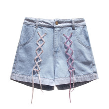 Summer Denim Shorts For Women Embroidery Lace Up Boyfriend Short Jeans High Waist Wide Leg Harem High Rise Femme Jeans Plus Size plus size zip up stretch high rise jeans