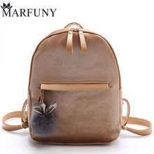Здесь можно купить  Soft Velvet Backpack Casual Style Girls Schoolbag Simple Solid Backpack Mochila Female Fashion Designer Backpacks Winter Sac   Backpacks