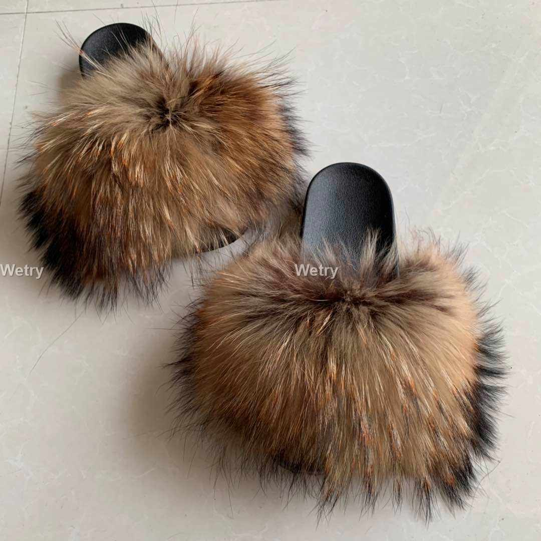 2019 Wholesale New style Real Fox Slippers Raccoon Slides Beach Slippers full fox Slippers luxuryfur  Female  36 al 45