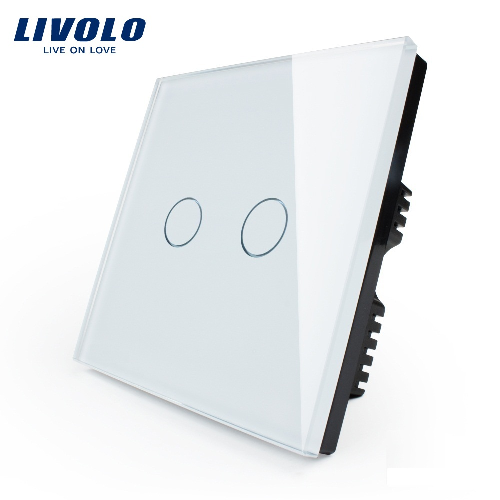 Livolo UK standard, Touch Switch, White Glass Panel, VL-C602-11,110~250V, 2-gang 1 Ways, LIVOLO Light Switch with LED Indicator minitiger y602a manufacturer touch switch ay y602 with led indicator golden glass panel 2 gang uk eu standard