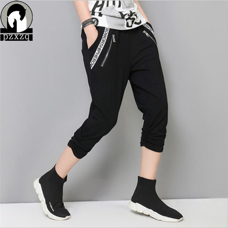 Black Casual Capris Harem Pants Women Letter Zipper Pencil Pants For Women Pantalon Femme Pantalones Mujer Alta Trousers Female