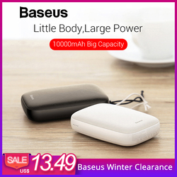 Baseus 10000mAh Mini Power Bank For iPhone Samsung Huawei Xiaomi Powerbank Portable USB Charging Power Bank External Battery