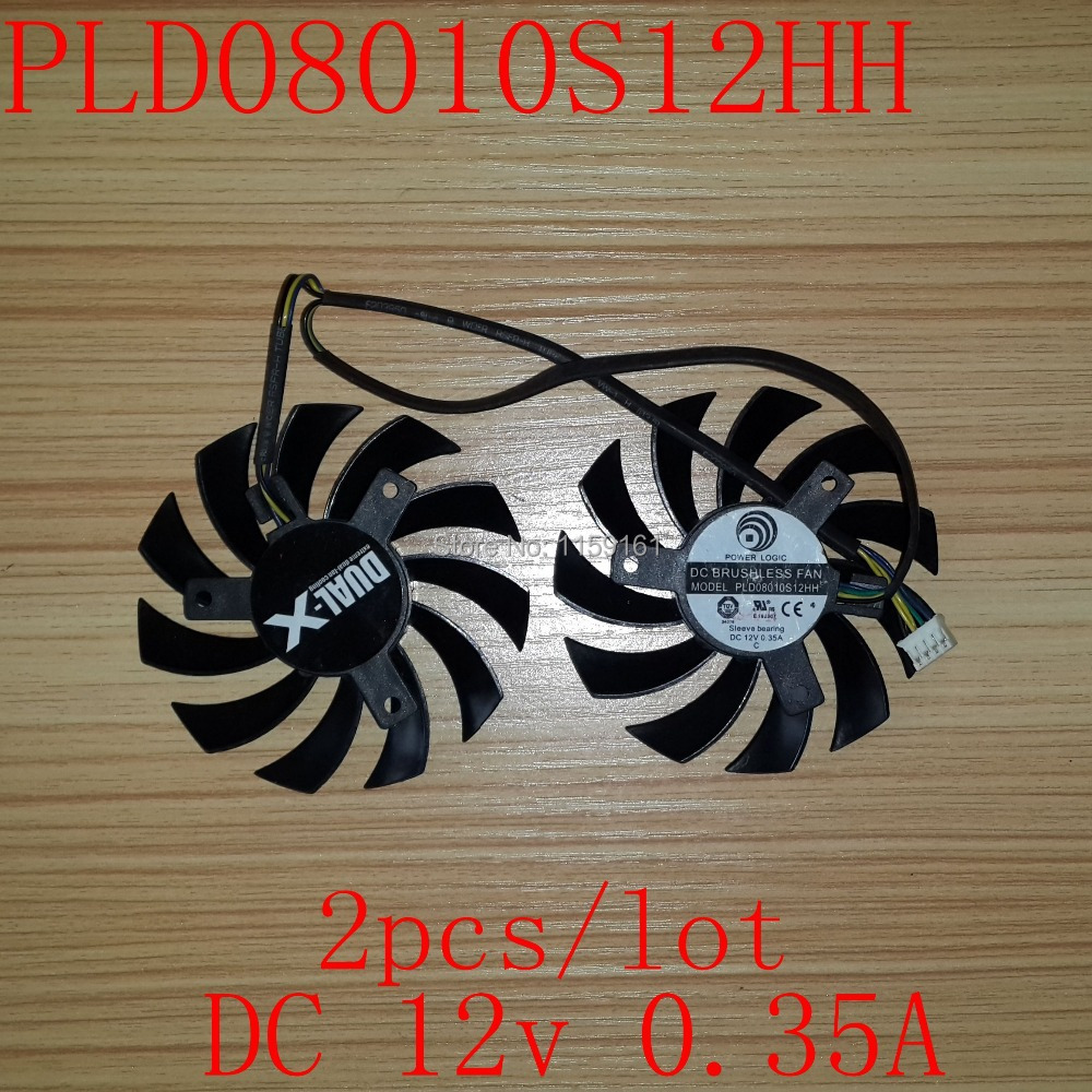 Тегін жеткізу 2pcs / lot PLD08010S12HH 75mm 12V MSI R6790 үшін R6850 R6890 GTX560 GTX570 GTX580 GTX460