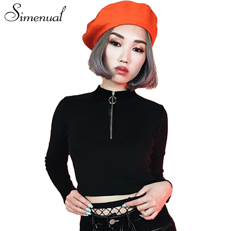 Simenual Zipper Turtleneck Crop Top Female T Shirt Fashion -5486