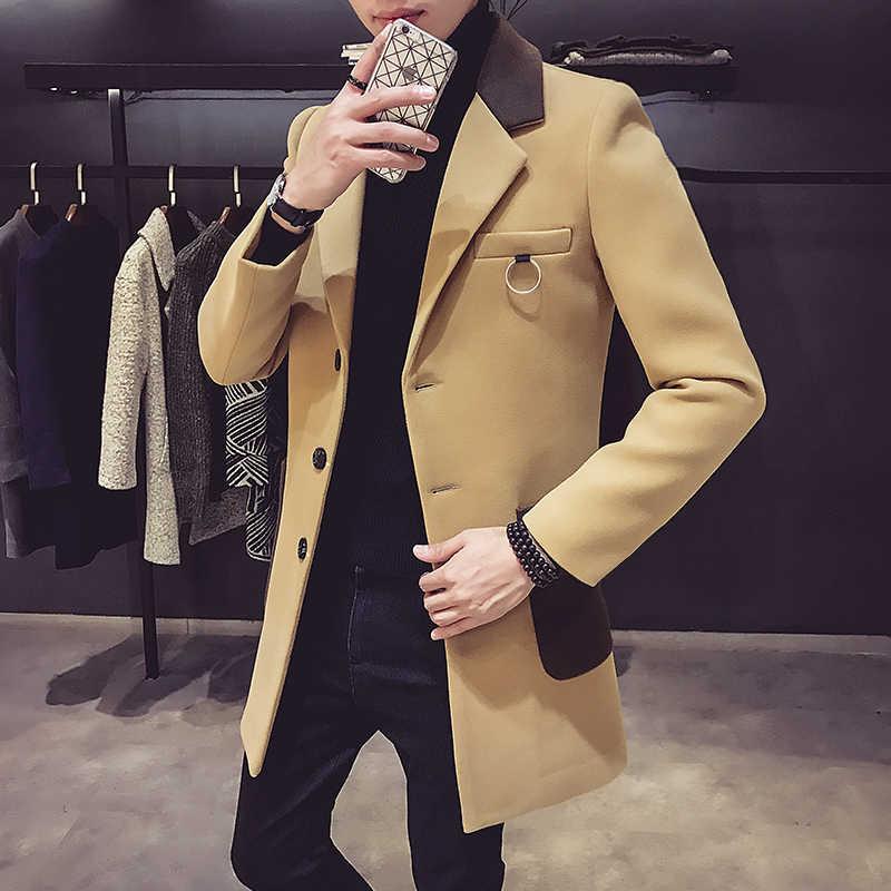 2019 秋と冬の新メンズファッションブティックウールカジュアルビジネスロングセクションウールのコート/メンズグレーのオーバーコートウールジャケット