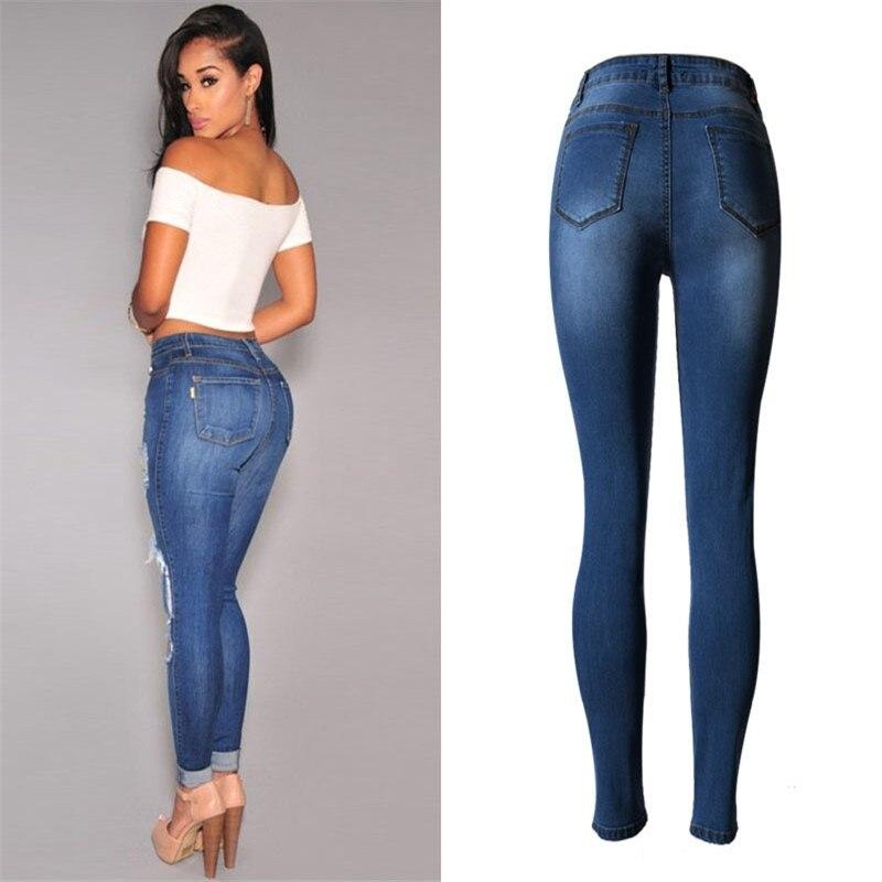 Women s fashion casual jeans women clothing Slim stretch high waist cowboy pants holes Denim Jeans