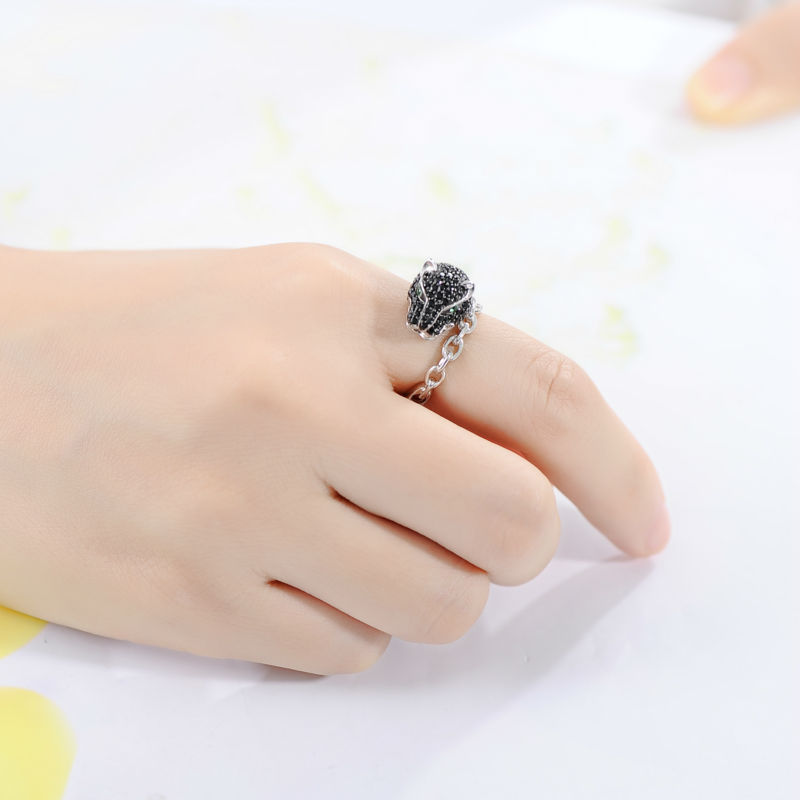 Image 5 - SANTUZZA Silver Leopard Ring For Women 925 Sterling Silver  Innovative animal Natural Black Stones Ring Unique Fashion  Jewelryleopard ringring for women 925fashion rings for women -