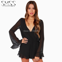 European And American Models Sexy Autumn SMSS V Neck Lace Casual Dress Sleeve Chiffo Jumpsuit Women