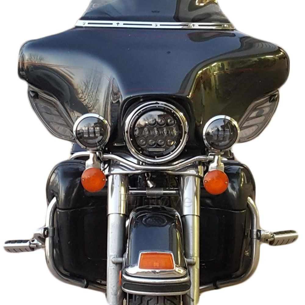 1x 7 75W Phillips Round LED Headlight + 4.5 Passing Lights For Harley Davidson (10)