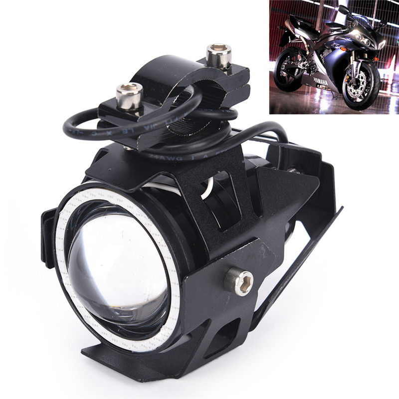 1pc U7 125W Motorcycle Motorbike LED Angel Eyes HeadLight Spot Fog Driving Head Light Lamp 3 Modes High Low Strobe|  - title=