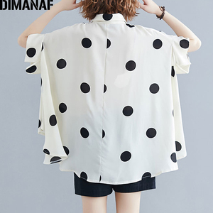 DIMANAF Plus Größe Frauen Bluse Shirt Große Größe Sommer Casual Dame Tops Tunika Druck Polka Dot Lose Weibliche Kleidung Batwing hülse
