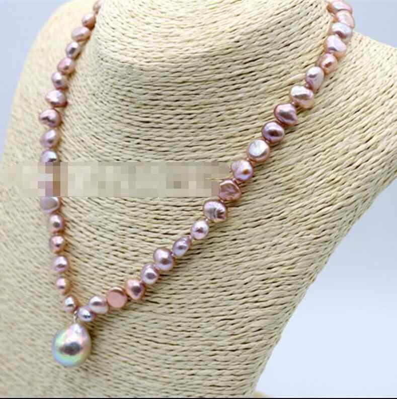 XUEYUN 2017 830 + + + Le étrange couleur perle en forme Baroque pendentif collier style de mode tout-allumette