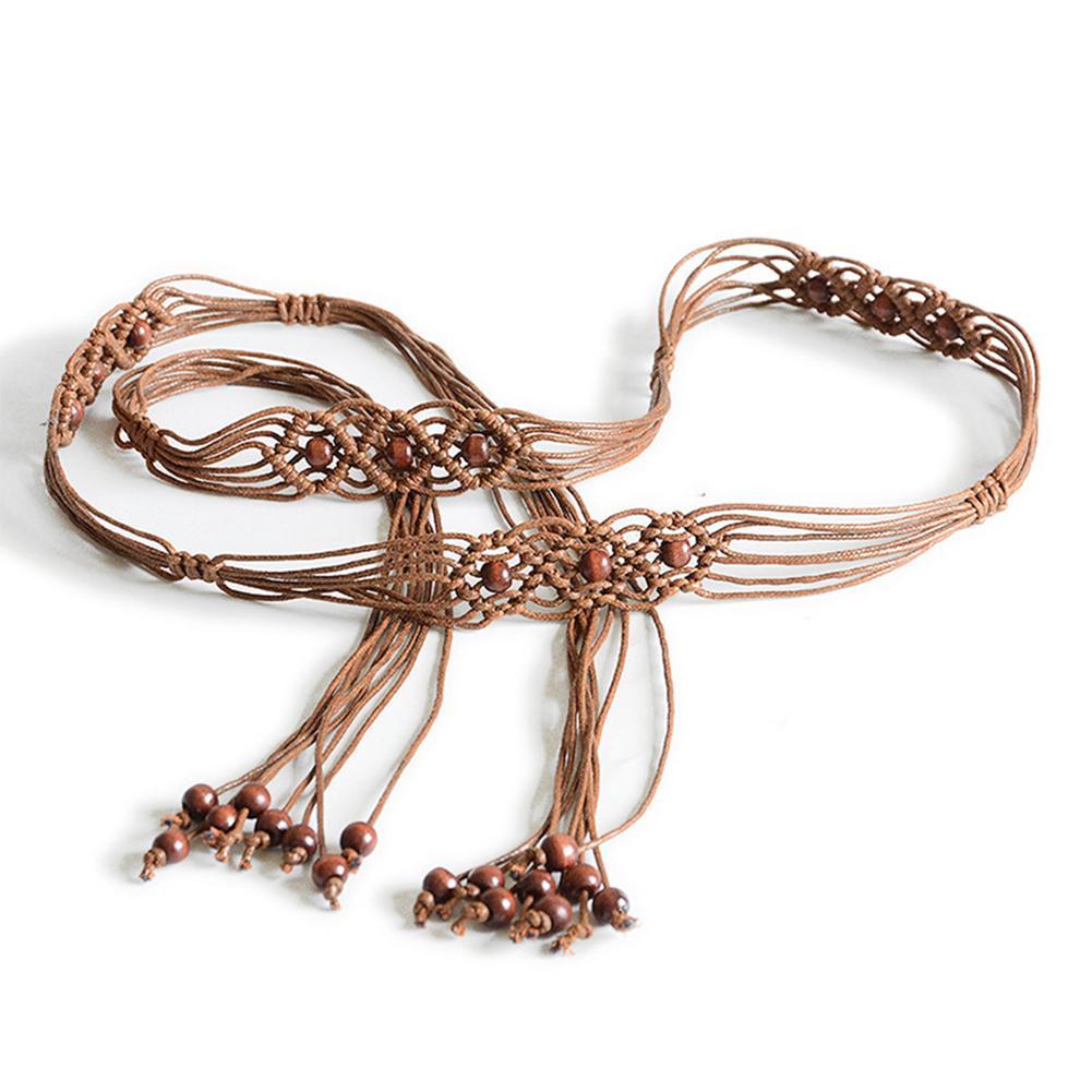 SANWOOD Bohemia Handmade Beads Braided Women's Belt Knotted Tassels Waist Belts 4 Colors Strap Fashion Dress Slim Waistband