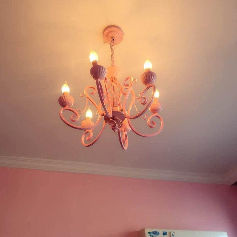Rose romantique enfant éclairage Vintage fer bougie lustre lampe de mariage rose Led lustres Luminaria pour Banquet chambre