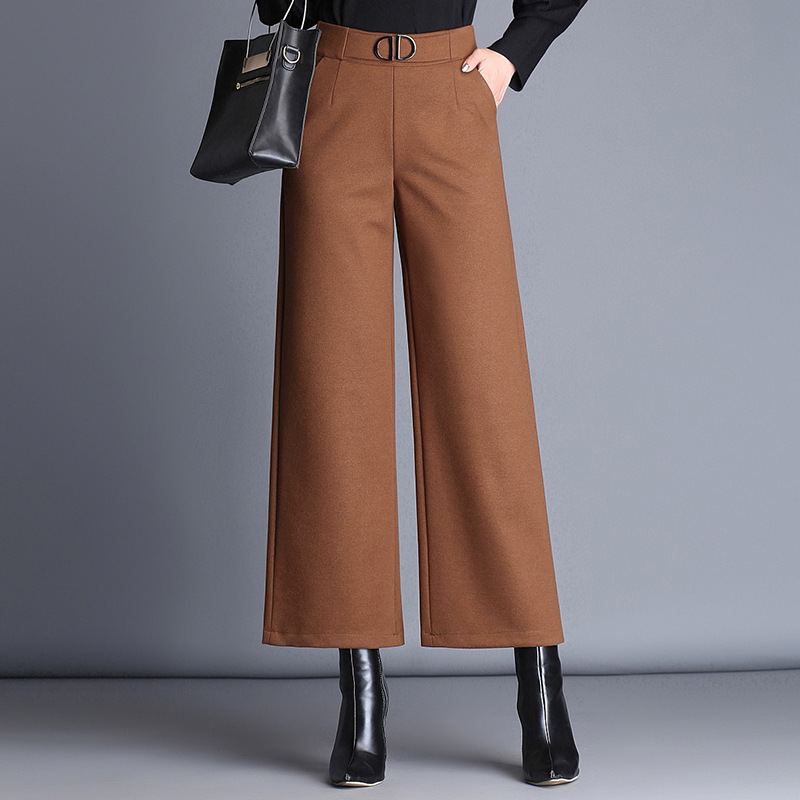 Woolen nine points   wide     leg     pants   women 2017 autumn and winter new wild thicken Elastic high waist casual   pants   brown black
