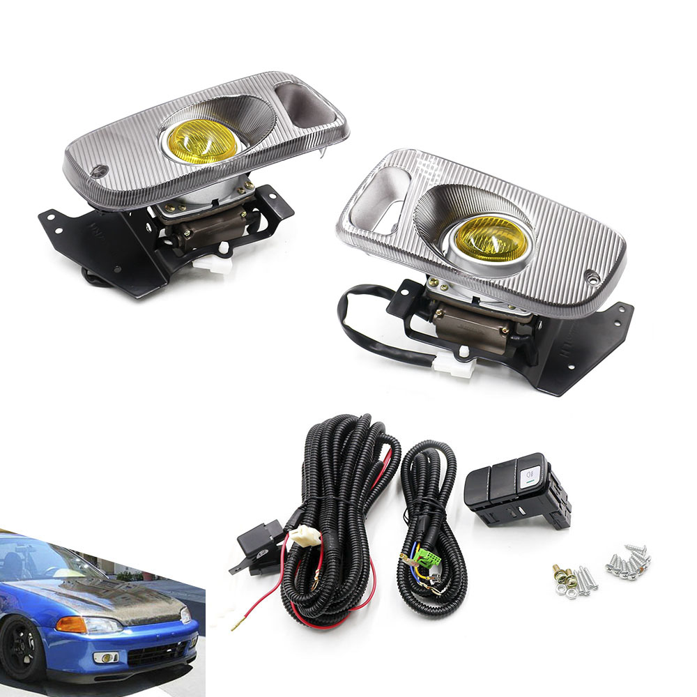 CNSPEED Yellow Fog Light For Honda Civic 92-95 2/3DR EG Car H3 haloge Fog Light 12V Bulb Front Bumper Light Full Set With Switch деталь шасси tansky epman honda civic 88 95 ep eg