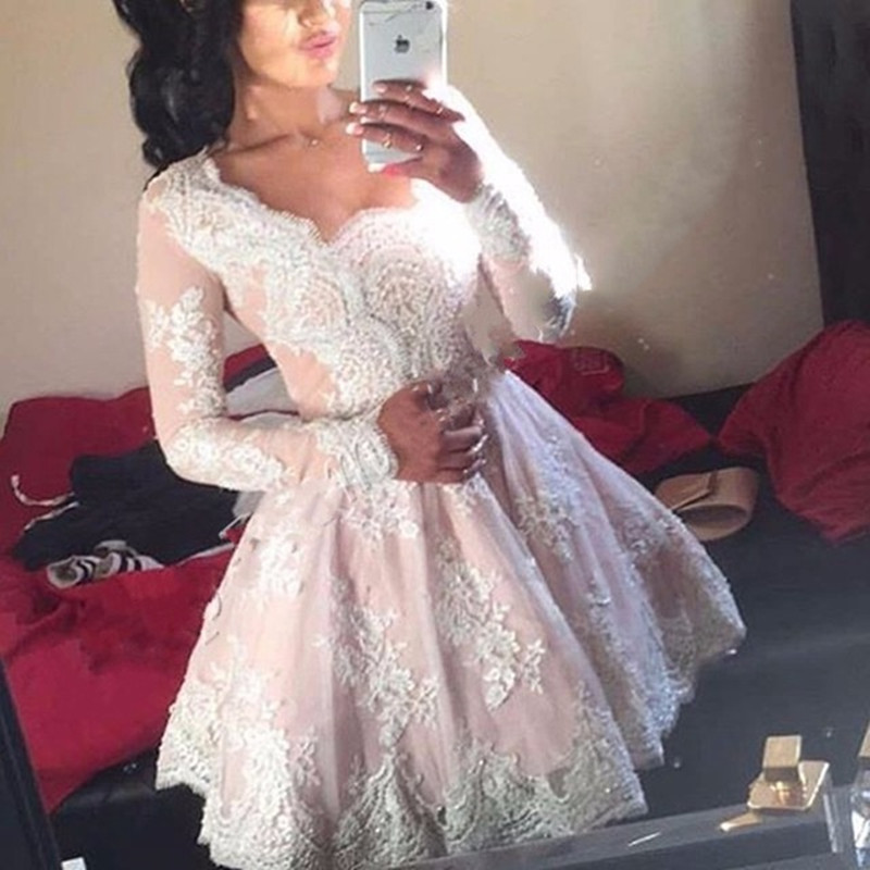Vestidos De Festa A Line Short Mini Lace Prom font b Dresses b font Appliques Women