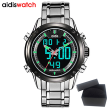 Dual Display Wristwatch Sport Men's Casual Quartz Waterproof Digital Watch Stainless Steel Clock Reloj Hombre Electronic Watch