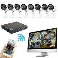 8 Каналы 1.0MP коаксиальный камеры + Высокое разрешение сети Hybrid Digital Smart видео Регистраторы DVR видеонаблюдения DIY Kit