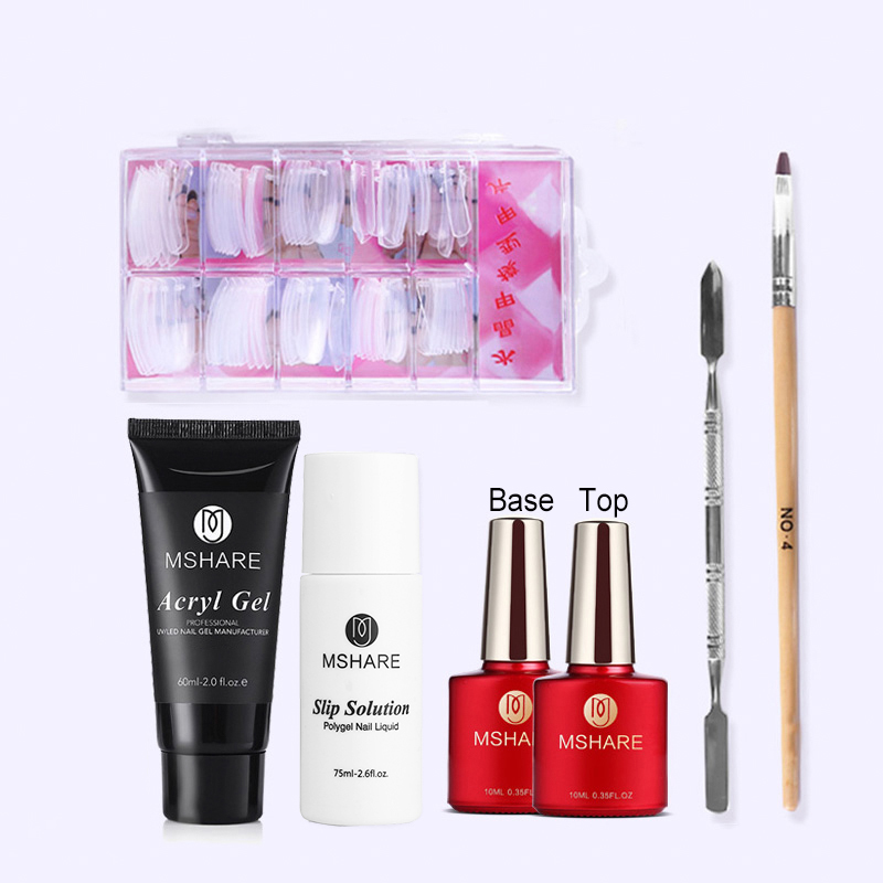 MSHARE 60ml Polygel Kit Poly Gel Nail Extension Set 7Pcs UV Builder Gel Brush Tool Slip Solution Nails Tips Acrylgel Sets Kits