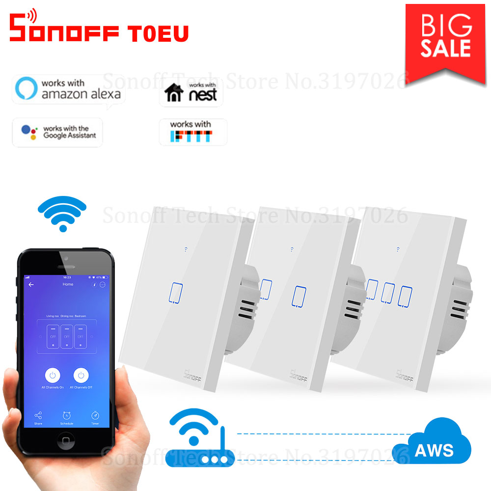 Itead Sonoff T0EU 86 1/2/3 gang TX Series Wall Touch Wifi Switch Remote Control Smart Home Switch Works With Alexa Google Home-in Home Automation Modules from Consumer Electronics