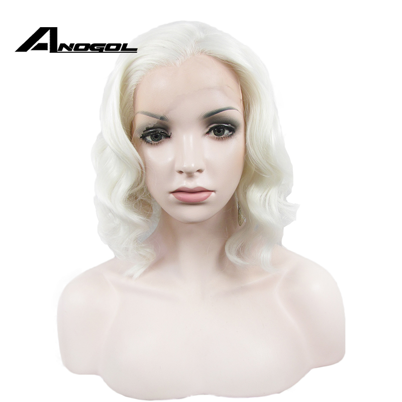 Anogol High Temperature Fiber Free Part Platinum Blonde Short Natural Wavy Bob Synthetic Lace Front Wig For White Women
