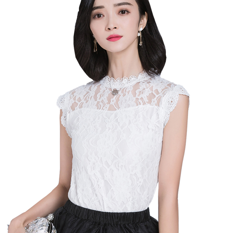Lace Top Women Sleeveless Summer Tops 2018 New Korean Style Elegant Hollow Out Casual Lace Blouses Shirts For Ladies DF1432