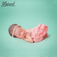 Mohair Newborn Fotografia Props Crochet Rosa Pantskirt Pearl Fascia Baby Girl Costume Outfits Bambino Photography Accessori
