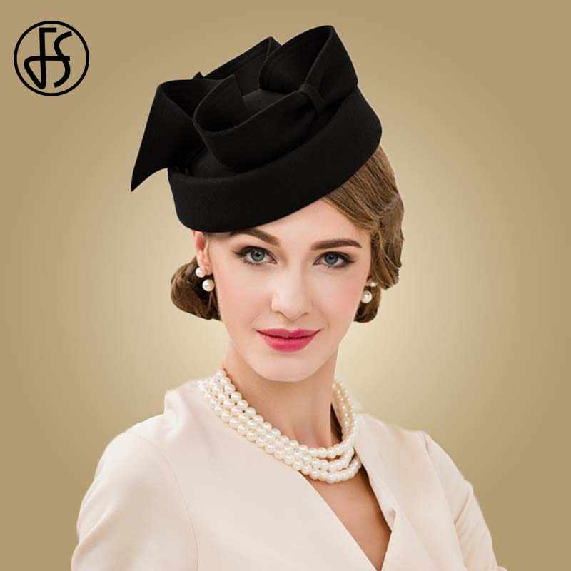 bb085a54fa2bc Detail Feedback Questions about Black Wool Felt Hat Women Cocktail ...