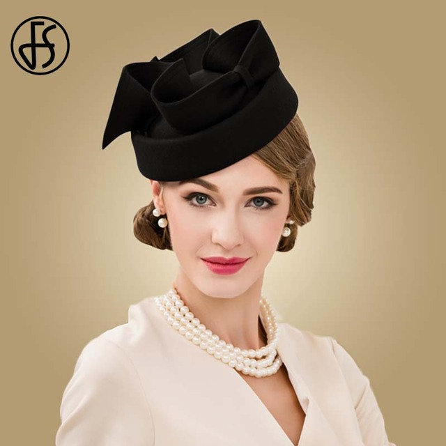 12eeda42bc1 FS Fascinator Royal Black Vintage Black Wool Pillbox Hat Women Elegant Wine  Red Wedding Ladies Hats Dress Derby Church Fedora