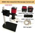 Цифровой HDMI VGA промышленный микроскоп камера видео микроскоп наборы HD 13MP 60F/S + 130X C крепление объектива + светодиодная кольцевая подсветка + м...