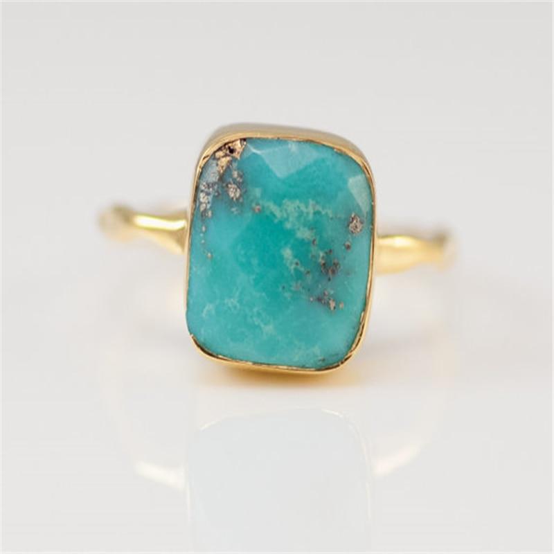 Stone-Ring Boho Jewelry Turquoises Square Geometric Gold-Color Small Blue Fashion Beach