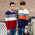 2017 Autumn Winter Men Sweaters and Pullovers Striped Long Sleeve Casual christmas Sweater Knitted Cotton Male Sweater  XN030