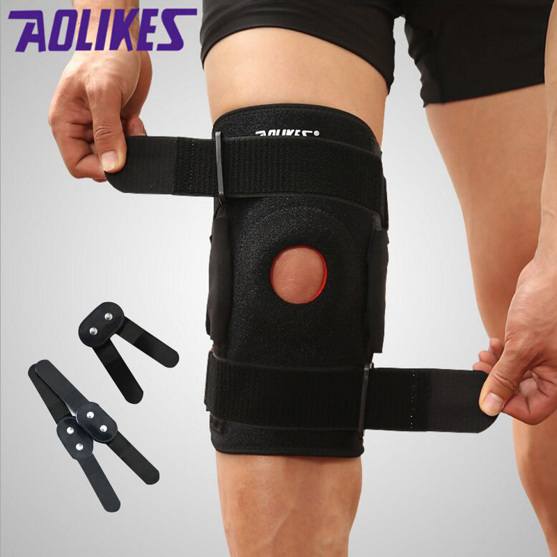1PCS <font><b>Knee</b></font> Brace with Polycentric Hinges Professional Sports Safety <font><b>Knee</b></font> Support Black <font><b>Knee</b></font> Pad Guard Protector Strap joelheira