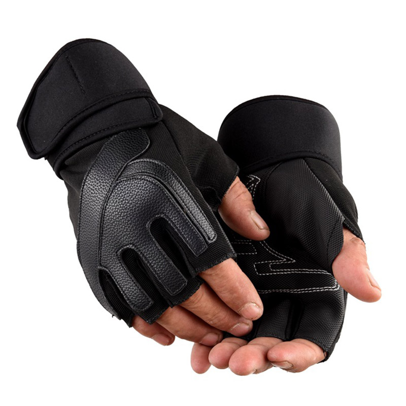 Men Women Half Finger Gym Fitness Weightlifting Gloves Outdoor Sports Cycling Non-slip Tactical Long Wrist PU Leather Gloves C37