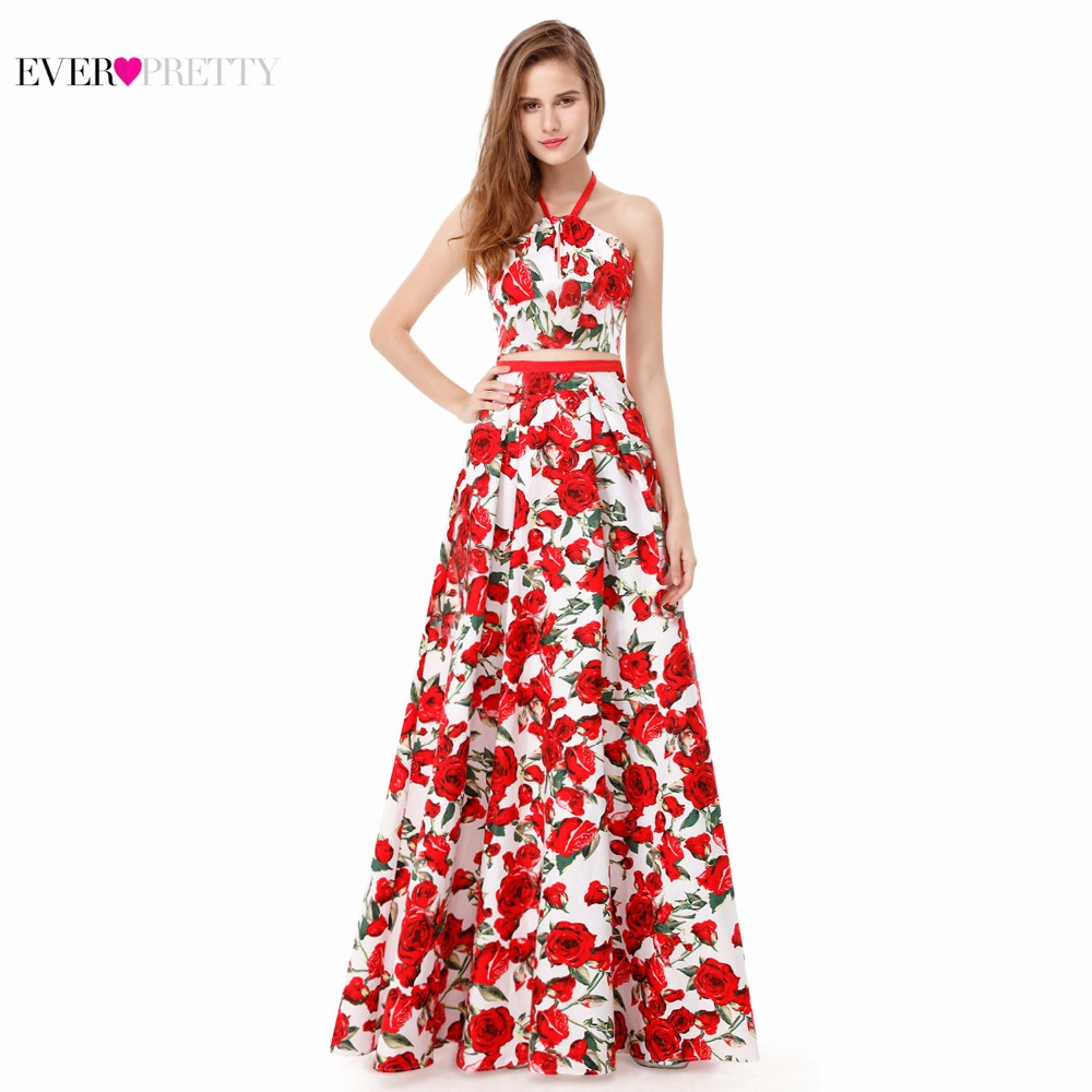 [Clearance Sale] Vogue Halter Prom Dresses Ever Pretty EP08969 Halter Two-Piece A-Line Flora Pleated Prom Party Dress 2018 Women