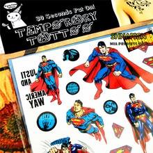 SHNAPIGN Classic Supermen Child Temporary Tattoo Body Art Flash Tattoo Stickers 17*10cm Waterproof Henna Tatoo Styling Sticker