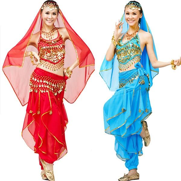 2016. gada jaunais 4gab. Komplekts vēderdejas kostīms Bolivudas kostīms Indijas kleita Bellydance kleita sieviešu vēderdejas kostīmu komplekti 7 krāsas