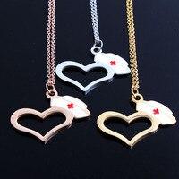 New 18K Rose Gold Gold Silver Enamel Nurse Hat Prayer Cross Heart Charm Body Chain Necklace