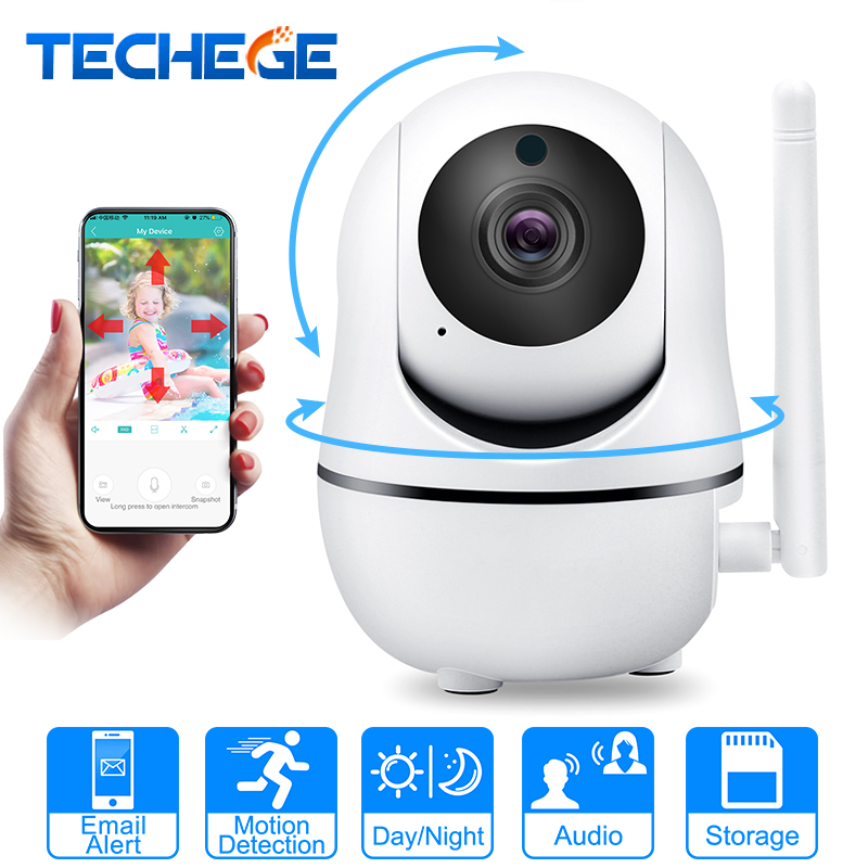 Techege 1080P 720P Wireless Camera IP Smart Home Security WiFi IP Camera WiFi Pan Tilt Two Way Talk Night Vision PTZ CCTV Camera